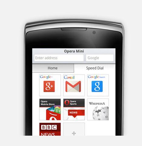 Função de Discagem Rápida (Speed Dial) do Opera Mini 8