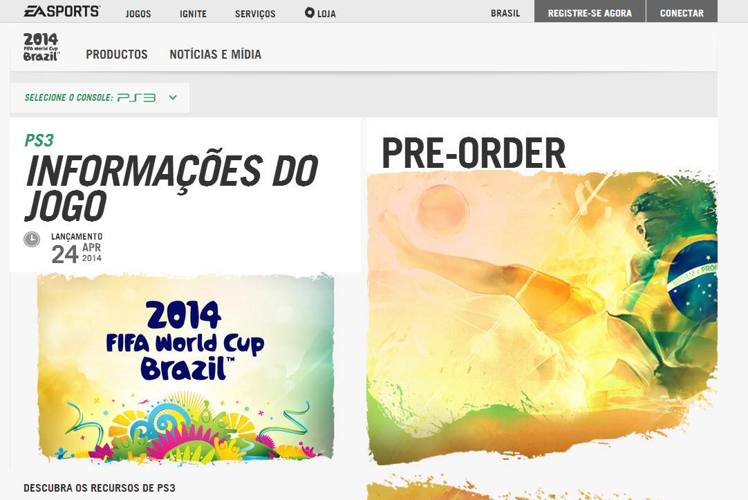 EA anuncia lançamento do Copa do Mundo da FIFA Brasil 2014 no Brasil em 24 de abril