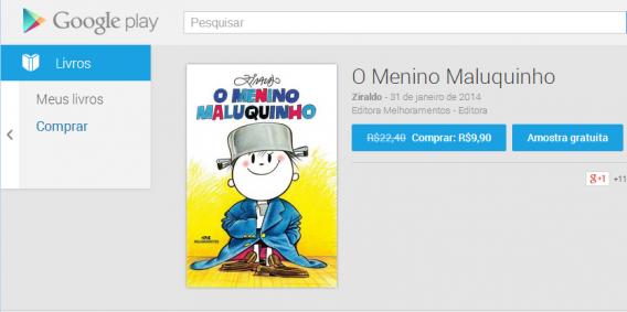 Livro Menino Maluquinho em promoção no Google Play