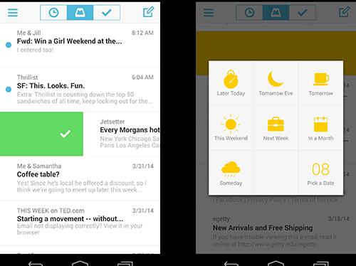 Telas do Mailbox para Android