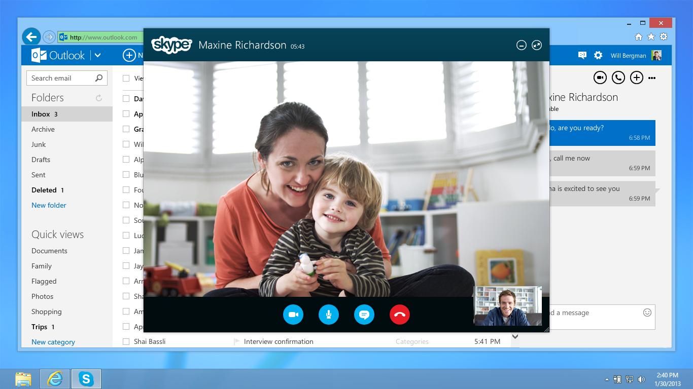 Como fazer vídeo chamadas com Skype no Outlook.com