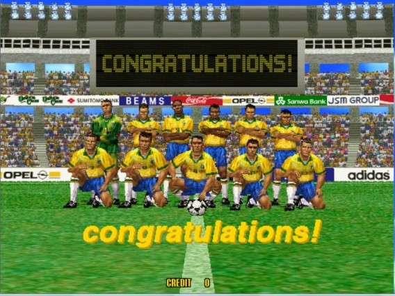 Seleção brasileira vitoriosa no Virtua Striker 2