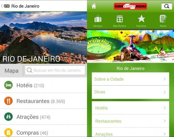 TripAdvisor e Guia Quatro Rodas oferecem recomendações de outros turistas ou críticos profissionais