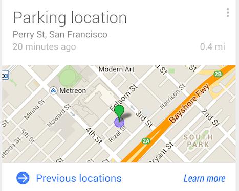 O Google Now agora sabe quando e onde você estacionou seu carro