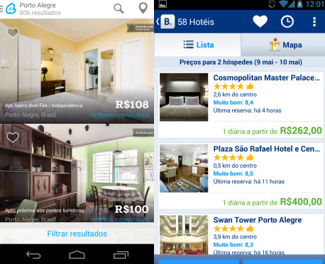 Airbnb e Booking.com mostram quartos e hotéis disponíveis para reservas