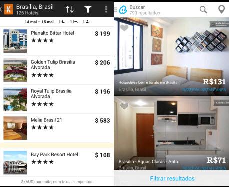 Kayak e Airbnb ajudam você a encontrar hotéis ou quartos mais baratos que a média