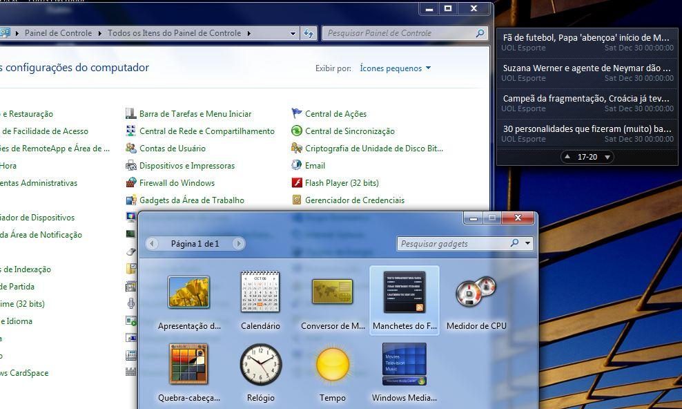 Gadgets da área de trabalho Windows