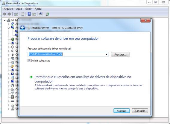 Escolha o diretório onde está o arquivo do driver atualizado