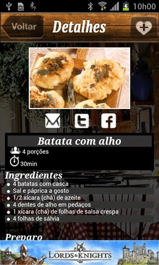 Interface do Receitas de Boteco