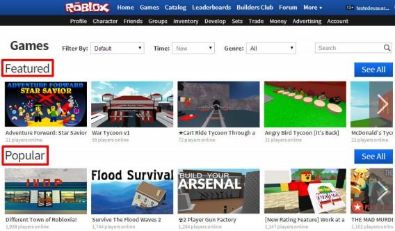 Featured mostra produções de destaque e Popular lista os games com mais jogadores online