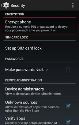 O próprio Android já inclui uma opção de segurança com criptografia de dados