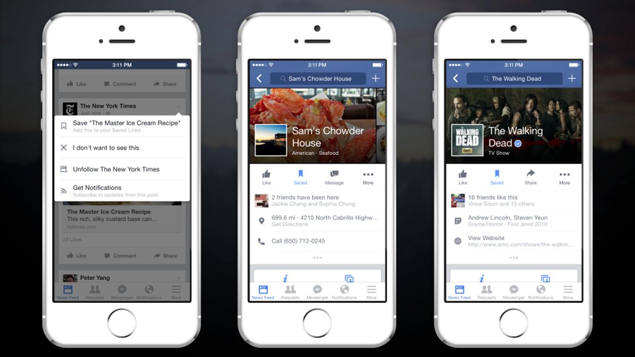 Novo recurso do Facebook salva posts para que você leia depois