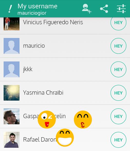 O Hey! permite enviar 3 tipos diferentes de emoticons