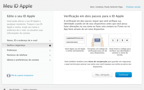 Meu Apple ID – 2 Passos
