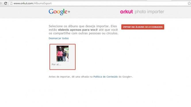 Orkut para Google+ – exportando fotos
