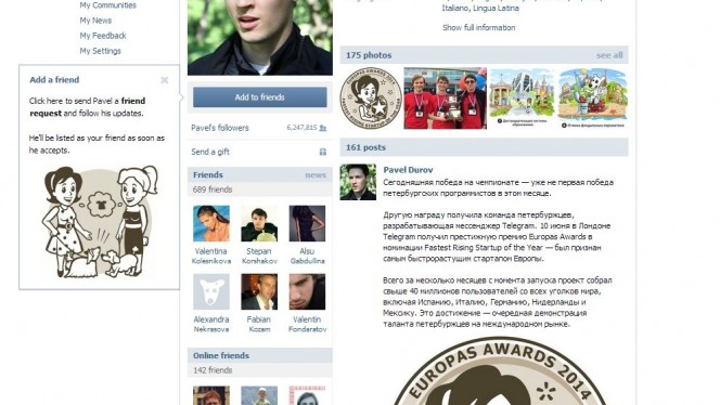 Pavel Durov no VK