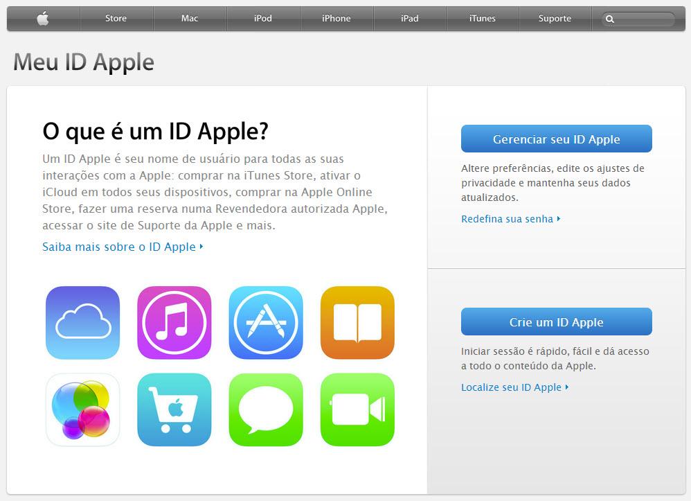 Tela inicial do Meu ID Apple