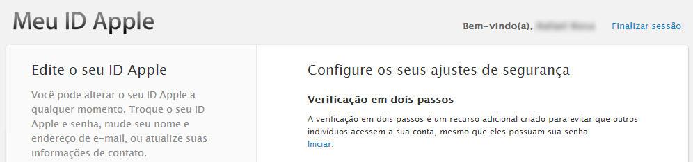 Tela de acesso à ativação da verificação em dois passos do ID Apple
