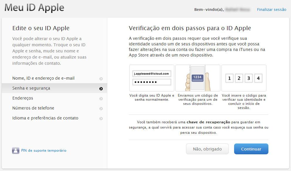 Tela explicativa da verificação em 2 etapas do ID Apple