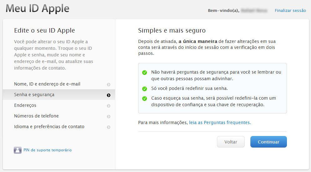 Tela explicativa da confirmação em 2 passos do ID Apple