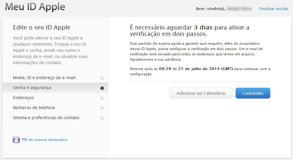 Tela de conclusão da primeira parte da ativação da verificação em 2 passos do ID Apple