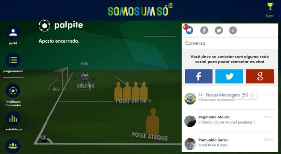 Aplicativo da Globo permite até arriscar palpites em tempo real