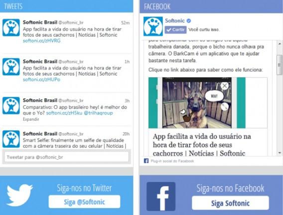 Nova caixa do Facebook e Twitter