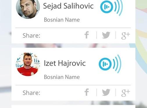 Interface do aplicativo World Cup Namez