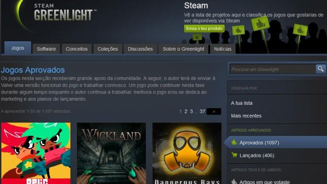 Tela de jogos aprovados no Steam Greenlight