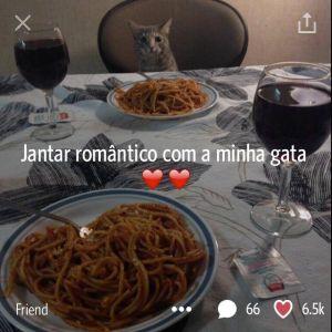Jantar romântico com a minha gata