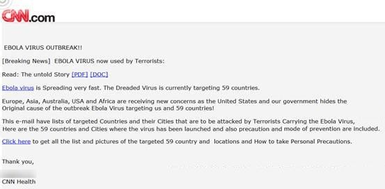 CNN Ebola ataques virtuais