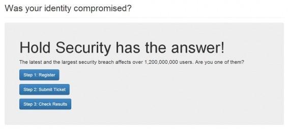 Página de contratação do serviço de monitoramento da Hold Security