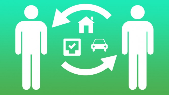 Two-people-share-car-house-tasks