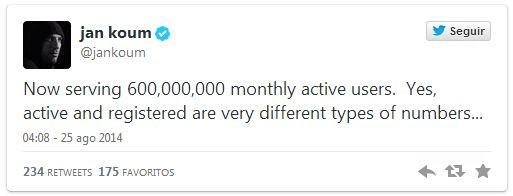 WhatsApp 600 milhões twitter