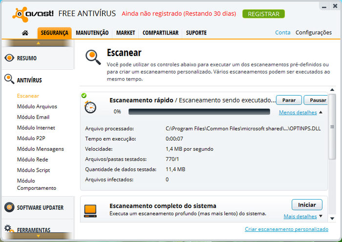 Interface do Avast! Free Antivírus
