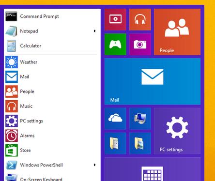 Menu Iniciar no Windows 9