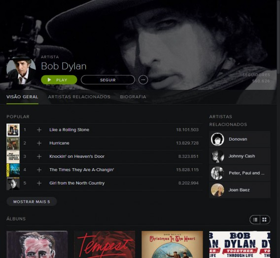 Interface geral do Spotify