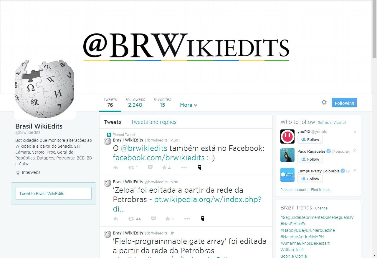 Perfil do Twitter monitora alterações na Wikipédia feita em órgãos do governo federal