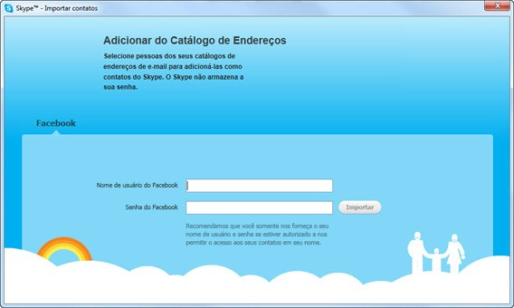 Skype para desktop permite adicionar amigos do Facebook