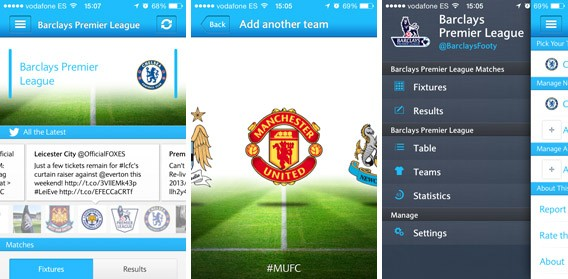 Telas do Barclays Football, app oficial do Campeonato Inglês