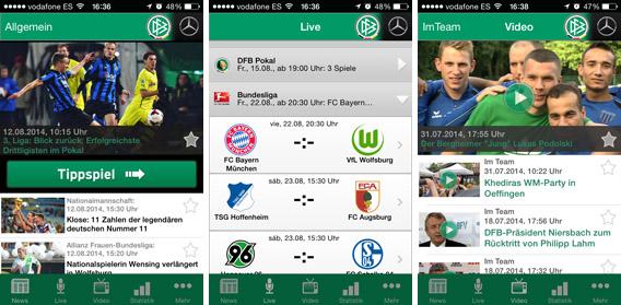 Telas do DFB, app oficial do Campeonato Alemão