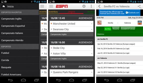 Telas do ESPN ScoreCenter Brasil