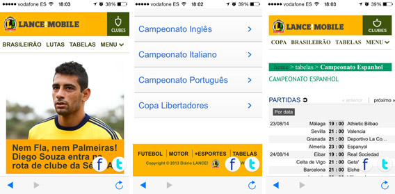 Telas do app LANCE! Mobile