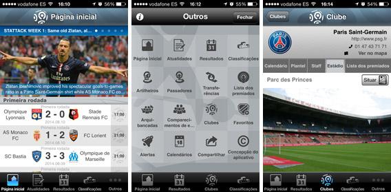 Telas do Ligue 1, app oficial do Campeonato Francês