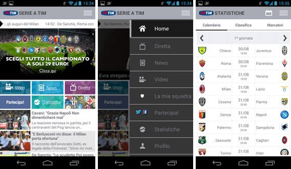 Telas do Serie A TIM, app oficial do Campeonato Italiano