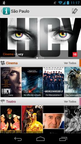 Interface do programa Ingresso.com