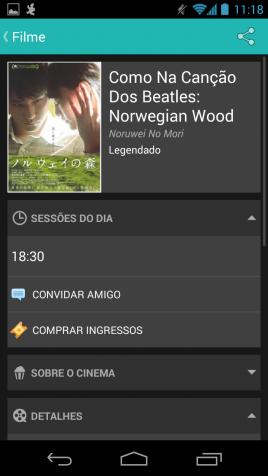 Interface do aplicativo Cine Mobits
