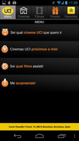 Interface do aplicativo UCI Cinemas Brasil