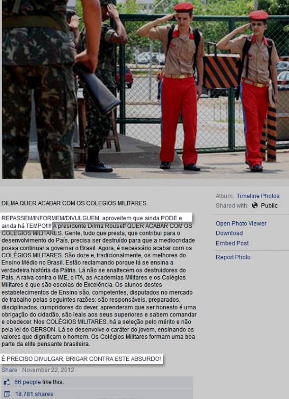 Boato falso sobre Dilma querendo acabar com escolas militares