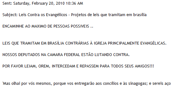 E-mail com notícias falsas sobre novas leis contra igrejas evangélicas